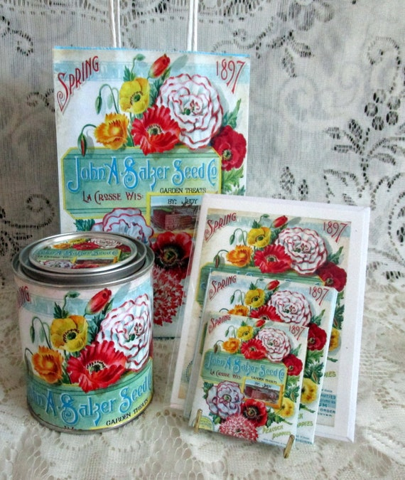 Vintage Seed Packet Paint Cans