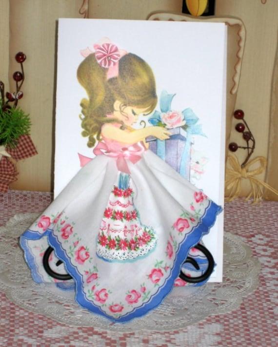 Little Lady Birthday Cake Keepsake Hanky Card
