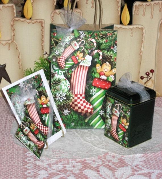 Christmas Stocking Gift Bag Set
