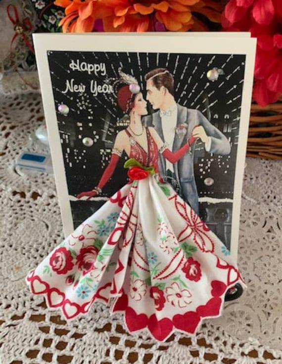 Art Deco Celebrate Hankie Card