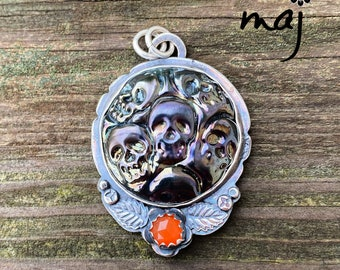 Gothic Skulls Artisan Glass and Sterling Silver Pendant
