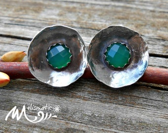 Green Chalcedony and Sterling Stud Earrings