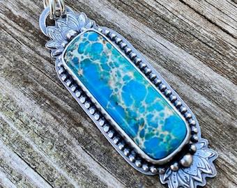 Sea Sediment Jasper and Sterling Silver Pendant