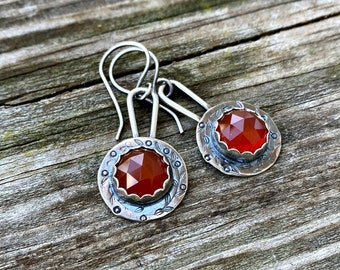 Carnelian Drops - Red Carnelian and Sterling Silver Earrings