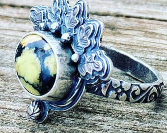 Ornate Variscite and Sterling Silver Ring