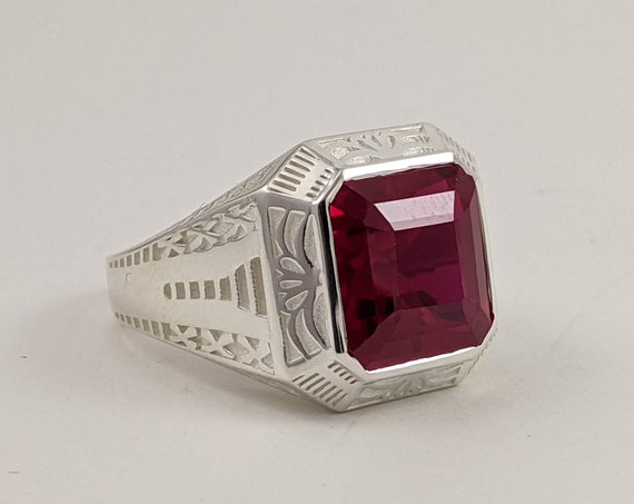 RESERVED Custom Sterling silver and natural Ruby Gemstone with Filigree Details on the sides