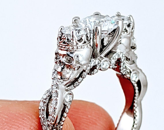 Skull King and Queen Ring Till Death do us Part Goth Skeleton Diamond Engagement Ring Punk Rock Day of the Dead Macabre Art Deco Rickson