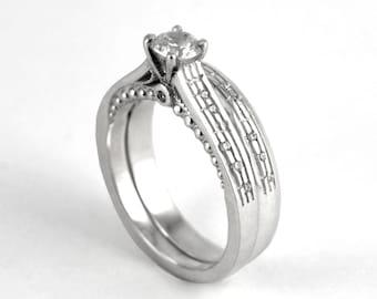 Diamond Music Note Ring Set - Custom diamond notes White Gold Sheet Music Musician Wedding Gift for Her Christmas Engagement Wedding Set