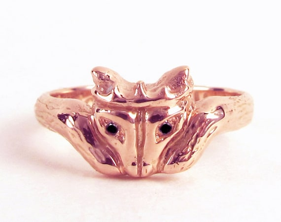 Foxy Claddagh - Gifts for Her Celtic Promise Ring Diamond Eyes Wedding Alternative Unique Sterling Silver Gold Engagement Nature Trendy 167b