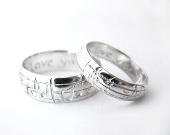Diamond Music Note Ring Set Custom Diamond Notes White Gold Etsy