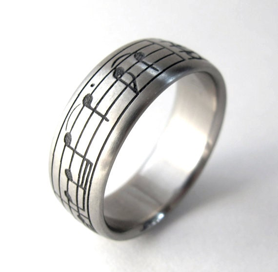Custom Titanium Music Note Wedding Ring - Pentagram Ring, Unique Wedding band, Music Gifts for him, Geekery, Alternative, Non Traditional