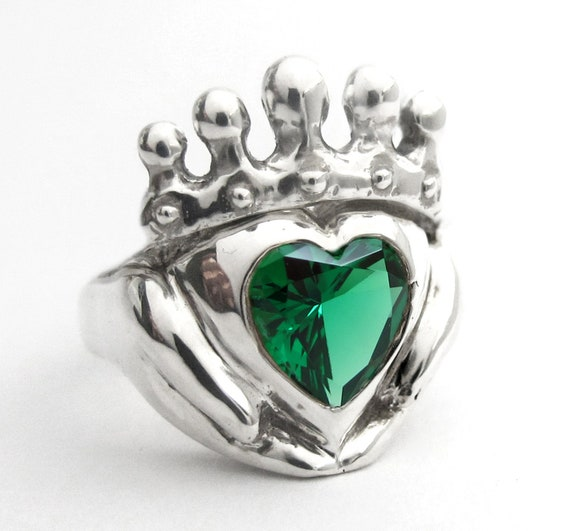 Claddagh Emerald Ring Choose Birthstone Celtic Jewelry Promise Ring Sterling Silver Claddagh Personalized Heart Stone Anniversary Custom 114