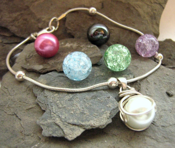 The POP in Bracelet Gift Set - Personalize - 5 Interchangeable Stones - Sterling Silver Chain - Gift Bag - Valentine's -  Rickson Jewellery