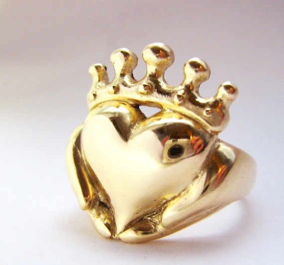 Handmade Claddagh Ring, Celebrity Callie Thorne, Chunky Claddagh, Unique Claddagh, Irish Jewelry, Celtic Promise Ring, Gifts for Her 187