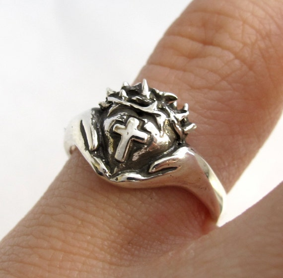 Crown of Thorns Claddagh Ring - Religious Silver Cross Ring - Celtic Jewelry - Christ - Faith Jewelry, Gift For Teens Rickson T182, No T 155