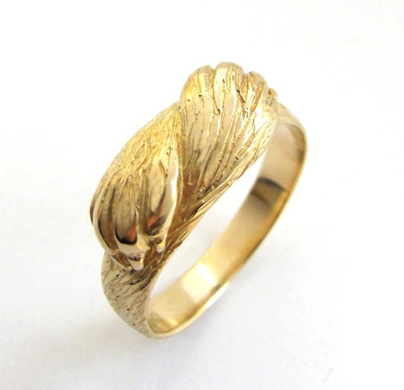 Paw to Paw Gold Ring - Animal Ring - Wolf Ring - Cat Ring - Mens Wedding Ring - Engagement Ring - Handmade - Rickson Jewelleryp