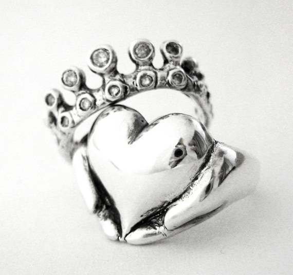 Rockabilly Claddagh Wedding Set - New - Sterling Silver and Diamonds - Engagement Ring and Wedding Band- Gifts For Her - Rickson  97&98