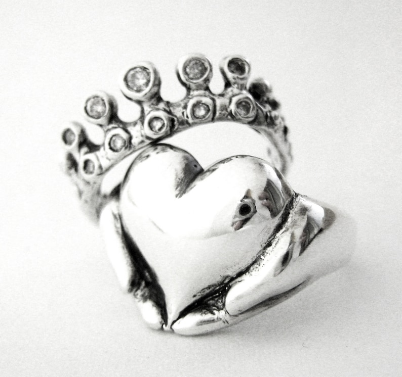 Rockabilly Claddagh Wedding Set  New  Sterling Silver and image 0