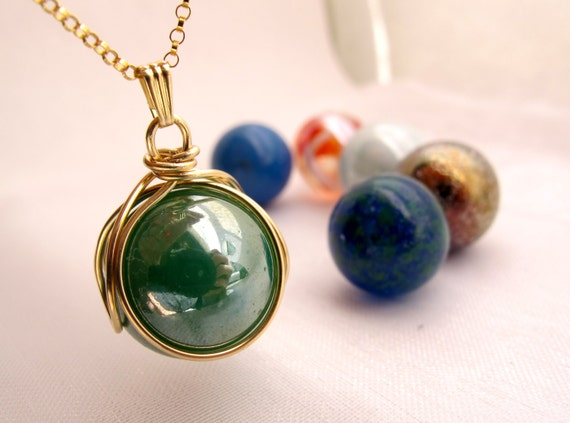 10kt Gold POP in Pendant Gift Set - Player Marble - Vintage Geekery Necklace - Family Birthstone Necklace - Choose Your 5 Stone Colours