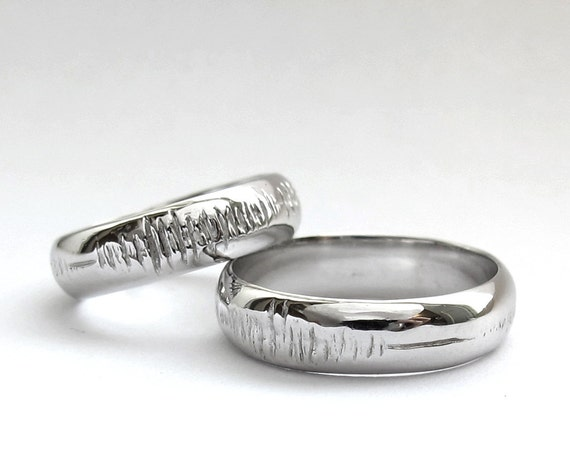 Sounds of Love - Personalized Sound Wave Promise Rings -  Nerd - Geek - Song - Geek Chic - Hand Engraved - Sterling silver- Rickson