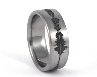 Custom Titanium Soundwave Ring - Geek Wedding Band for him, Personalized Rings, Unique Sound Wave Wedding Band, Geekery, Gift for him, Nerd