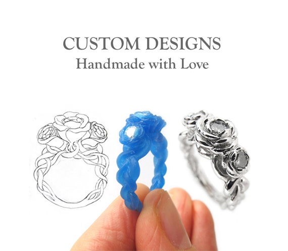 Handmade Custom Designed Rings, Design Your Own Engraved Jewellery, Make Your Own Ring Personalize Commission Unique bespoke artisan Rickson