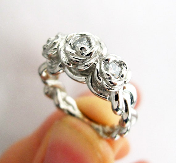 Silver Rose Ring Bouquet - Sterling Silver and Custom Cubic Zerconia Stones - MTO - Personalize - Romantic - Gift For Her -Rickson  119a