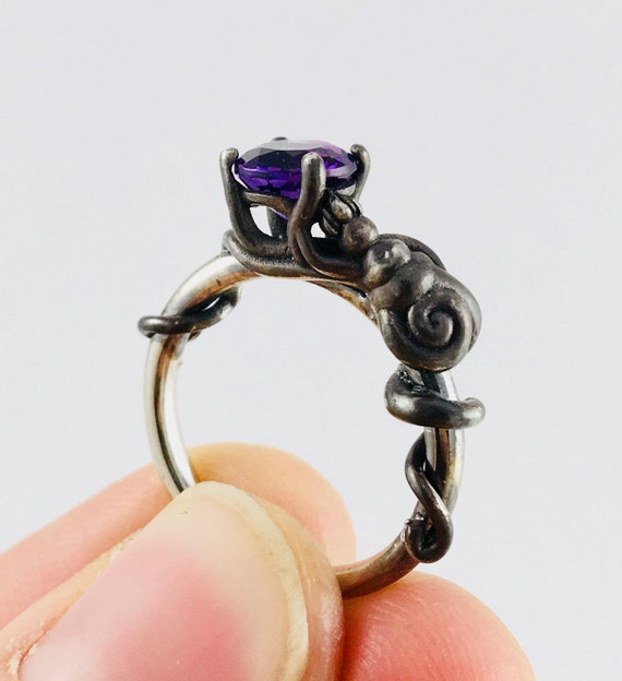 Ursula Ring Disney Dream Engagement Little Mermaid Octopus Queen of the Sea Black Gold Rhodium Plate Silver Gold Amethyst Natural CZ