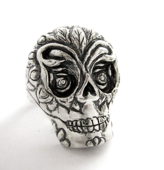 Sugar Skull Ring for Men Women Day of the Dead Santa Muerte Day of the dead Gothic Biker Ring Vintage Mexican Skull Ring Rickson Jewelry