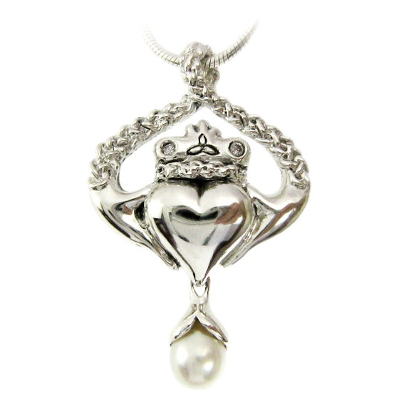 Pearl and Diamond Claddagh Pendant - Triquetra Trinity Celtic Love knot Circle Necklace Irish Jewelry Wedding Anniversary Meaningful Gift 13