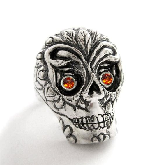 Sugar Skull Ring for Men Women Day of the Dead Santa Muerte Day of the dead Gothic Biker Ring Vintage Mexican Skull Ring Rickson Jewelry 55