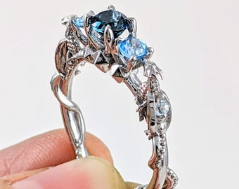 DND Dungeons and Dragons Ring with 5 CZ Blue Topaz Gemstones Gamer Nerd Engagement Ring D20 Roll the Dice D and D Board Game Ring