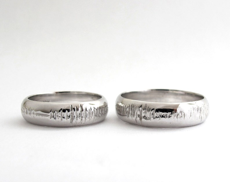 Sounds of Love  2 Personalized Sound Wave Wedding Rings  image 0