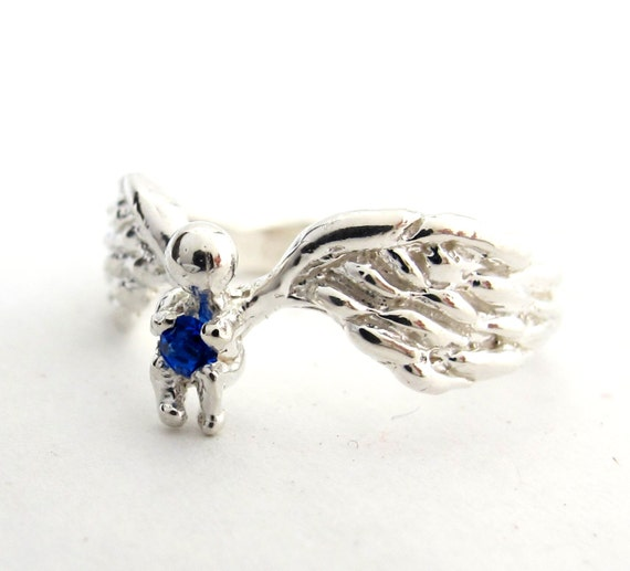 Angel Ring - This Baby's Got Wings Mothers Day Birthstone Angel Baby Push Present Religious Gift Faith New Mom Jewelry Gold Platinum 105