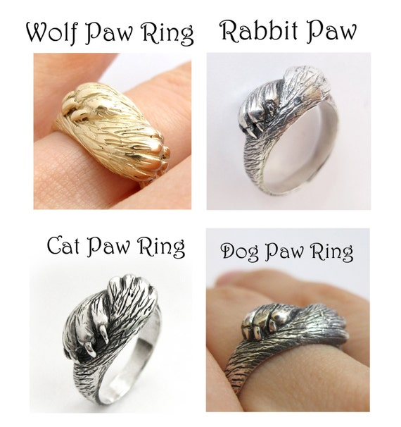 Paw to Paw Ring - Cat Dog Wolf Rabbit Paws, Sterling Cat Ring, Dog Paw Jewelry, Handmade Animal Pet lover Ring, D 111, C 56c, W 112, R 83
