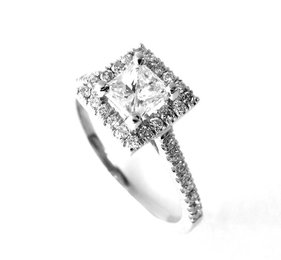 The Adrienne - Modern Princess Cut Square Halo White Gold and Diamond Engagement Ring Classic Elegance pave Handset 1ct Diamonds - Rickson