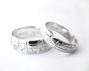 Your Song Wedding Ring Set White Yellow Rose Gold Platinum Custom Size Real Music matches your choice of song Rickson Jewelry 14 91
