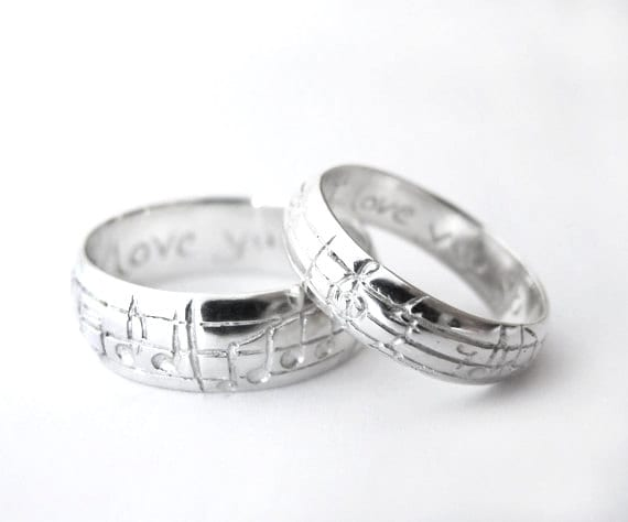 Your Song Wedding Ring Set - White Yellow Rose Gold or Platinum - Custom Size - Real Music matches your choice of song - Rickson Jewellery