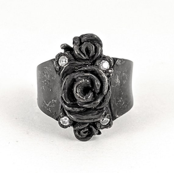 Custom Sterling Silver Rose Ring with 4 CZ stones and black finish