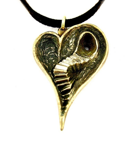 Brass Heart Ache - Handmade Brass Necklace - Double Sided Heart Design - Pendant Gift - Valentine's Gift - Gift For Her- Rickson Jewellery 1