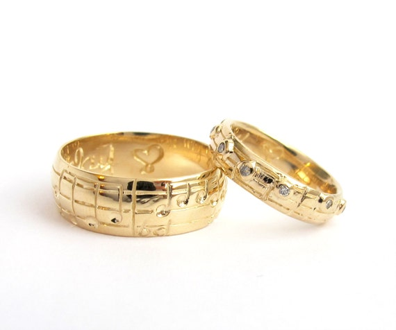 Your Song Wedding Ring Set, Yellow White Rose Gold, Made to Order, Unique Wedding, Alternative Sheet Music, Choose Song, Rickson Jewellery