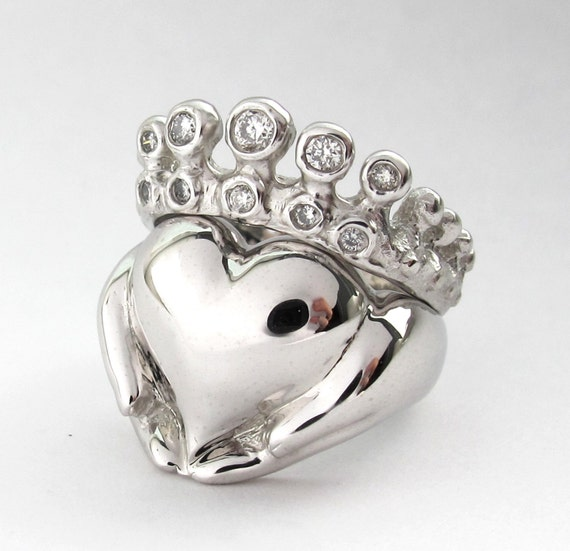 Claddagh Wedding Set - White Gold - Diamond - Engagement Ring and Wedding Band - Bridal Set - Rickson Jewellery 97&98
