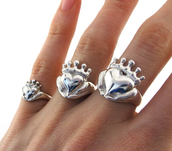 Handmade Claddagh Ring, Celebrity Jewelry, Chunky Claddagh, Unique Claddagh, Irish Jewelry, Celtic Promise Ring, Gifts for Her 115 177 187