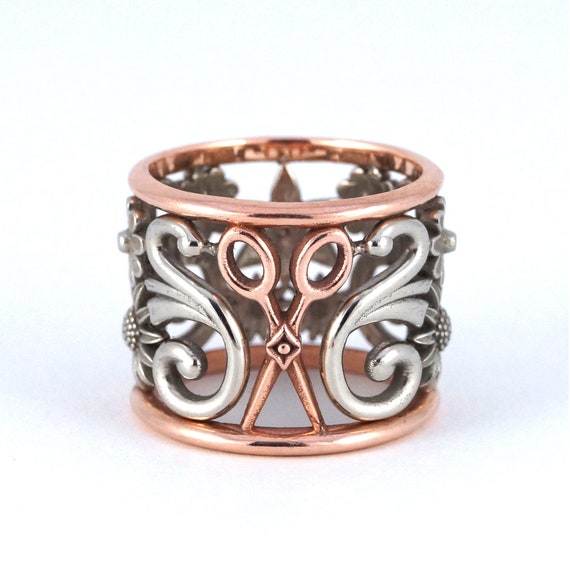 Scissors Ring Custom Flowers Hair Stylist Two Tone Filigree Silver White and Rose Gold Statement Ring Wide Band Hairdresser Art Nouveau