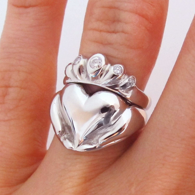 Sterling Silver White Gold Yellow Gold Rose Gold Diamonds Platinum and Diamond Bridal Set Rickson Jewellery 138a 138b Claddagh Wedding Set