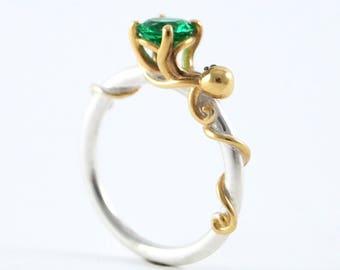 Octopus Joy, Sterling Silver Ocean Octopus Ring, Octopus Engagement, Cephalopod, Silver Kraken Ring, Sea Creature, Emerald Ring, Rickson 213