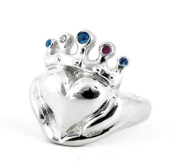 Claddagh Familie Birthstone Ring Mit Personalisierten Steine Etsy