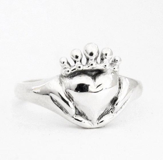 Claddagh Ring Small, With or Without a stone, Promise Ring, Birthstone Ring, Gifts for Her, Celtic Handmade Sterling Irish, Personalized 115