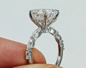 Custom 2.7ct oval moissanite and Gold Ring with Moissanite or CZ accent stones