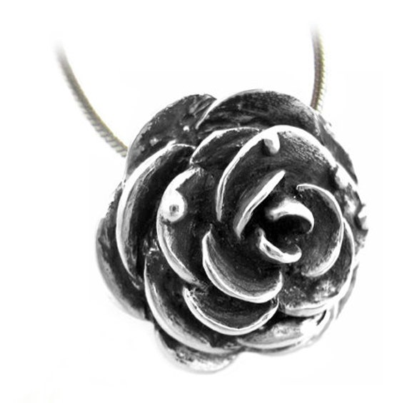 SALE Victorian Rose Necklace - Silver Goth Steampunk Black Rose Gift for Her Rose Staple Classic Pendant Floral Rickson Jewellery 38